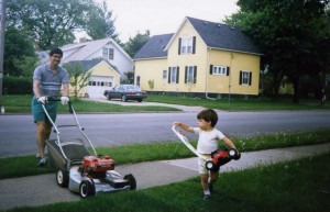Helping my dad mow the lawn in Appleton