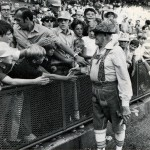 Milt Mason greeting fans at County Stadium